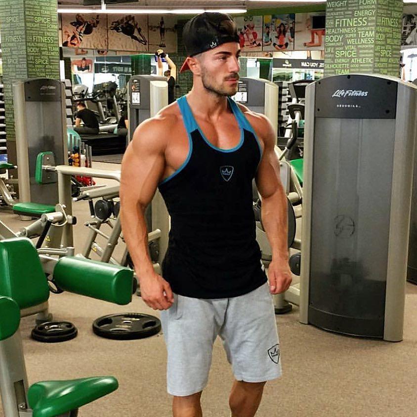 Men Set Clothing Fitness Skinny Tight Mens Suits Summer GYMS Tank Sportswear Slim Fit Elastic Clothing Men Sets Tank Tops+Shorts