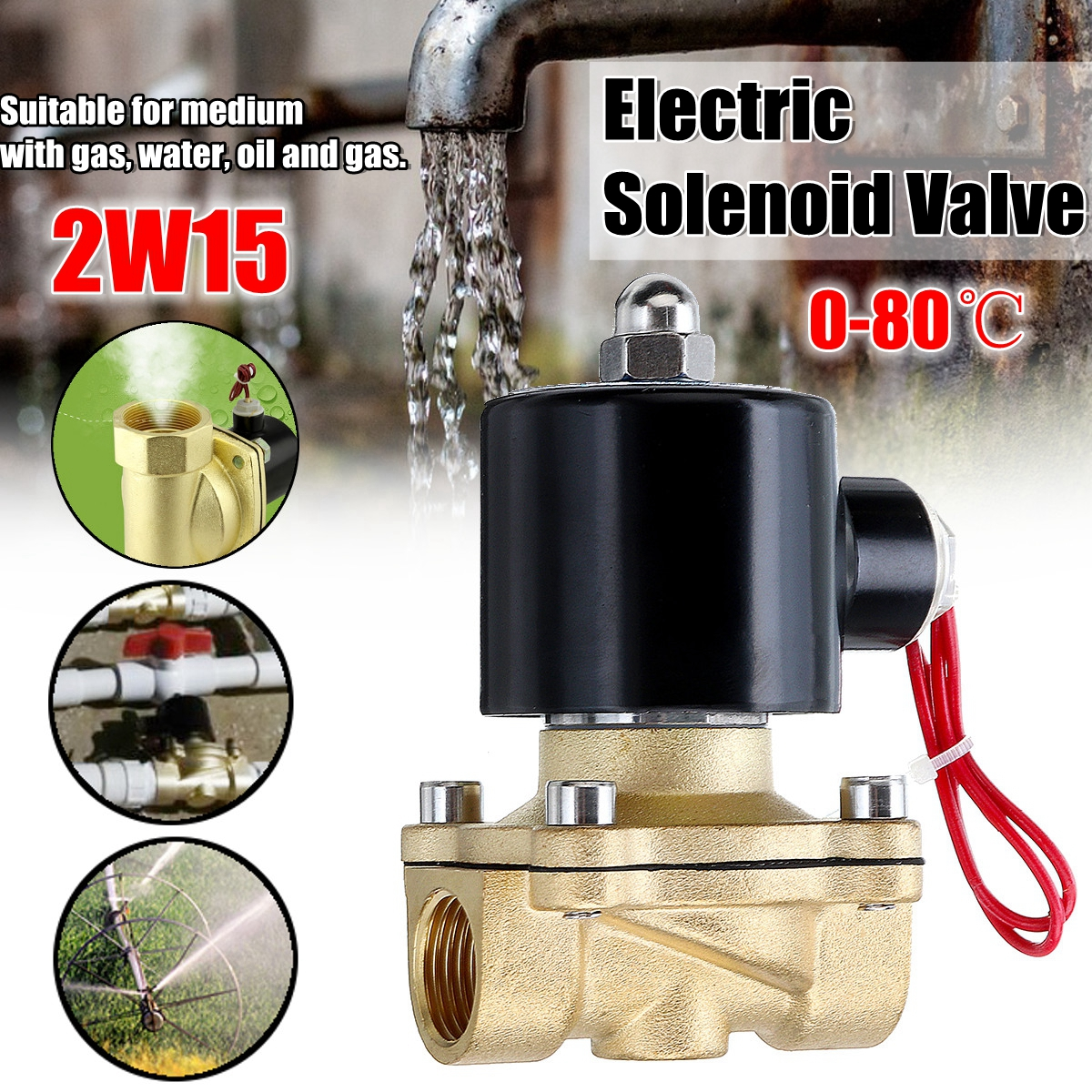 1/2 Inch AC220V Electric Solenoid Valve Normally Open Diaphragm Brass Valve for Water Air Gas brass electric solenoid valve 2w 200 20 3 4 inch npt for air water valve 110v nc