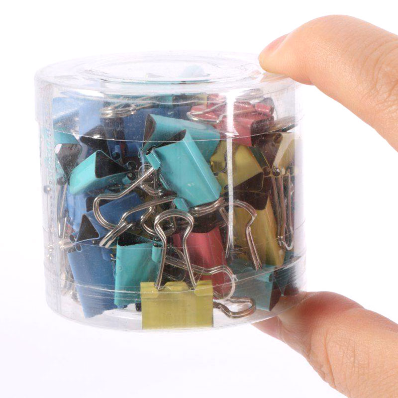 60Pcs/Box 15mm Colorful Foldback Metal Binder Haarklem Paper Clips And Binder Clips For Office School Student File Paper