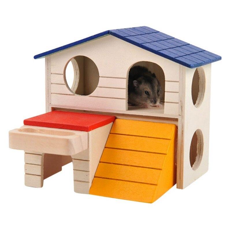 De madera natural de lujo plegable Casa de hámster juguete hamster jaula Gerbil masticar Juguetes hámster pequeña casa de mascotas