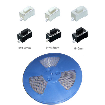 1500pcs/coil 3*6*4.3/4.5/5mm SMD Push Button Switch Tact Switch 3x6x4.3/4.5/5 mm White/Black Color