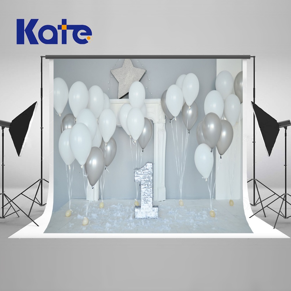 Kate 7X5FT (220X150CM)Children 1st Photography Backdrop White Balloons Party Backdrops Newborn Washable Background Photo Studio sensfun where the wild things are dessert table backdrops custom photo studio backdrop background vinyl 7x5ft