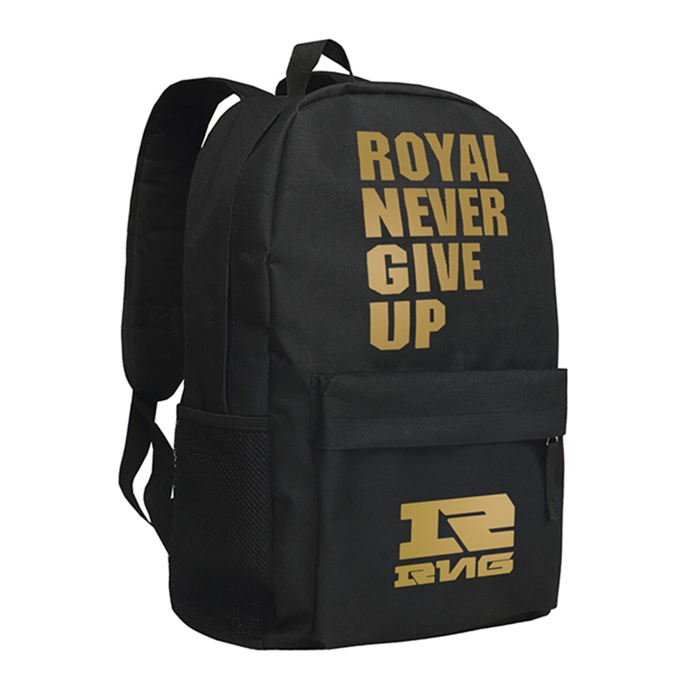 Royal Never Give Up Backpack RNG Team Shoulder Bag for Boys Girls Bookbag never give up ma yun s story the aliexpress creator s online businessman famous words wisdom chinese inspirational book