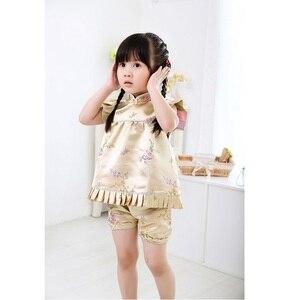 Image 4 - Hooyi mavi Çiçek bebek kız giysileri takım elbise moda Çocuk Giyim seti Bebek yaz kıyafetleri Jumper takım elbise Qipao
