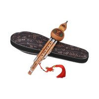 Treble C Key Hulusi Cucurbit Flute Bottle Gourd Bamboo Pipes Chinese Traditional Instrument with Chinese Knot Carry Case