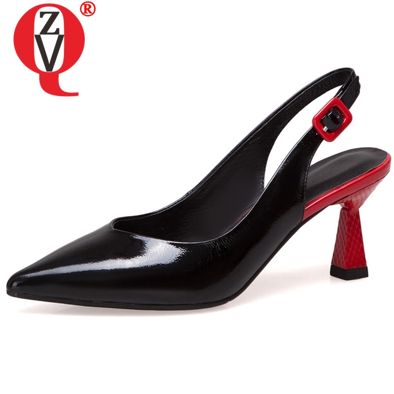 ZVQ women genuine leather upper and inside fashion heels shoes pointed toe ladies mixed color party
