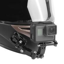 Capacete da motocicleta Suporte Chin 4 Formas Turntable Botão de Montagem para GoPro Herói 7 6 5 4 SJCAM SJ4000 EKEN H9 ação Cam Acessórios