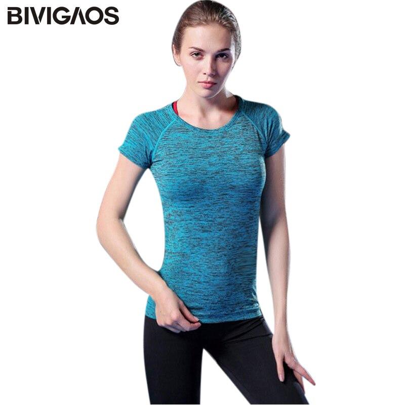 BIVIGAOS Summer Women T-shirt Female Elastic Workout T Shirt Absorb Sweat Short-Sleeved Tops Tshirt Aerobics Clothes For Women