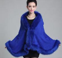 Shawl New large size shawl cape coat fall winter fur collar cardigan sweater European Leather grass imitation fox fur 1029 shawl collar longline coat