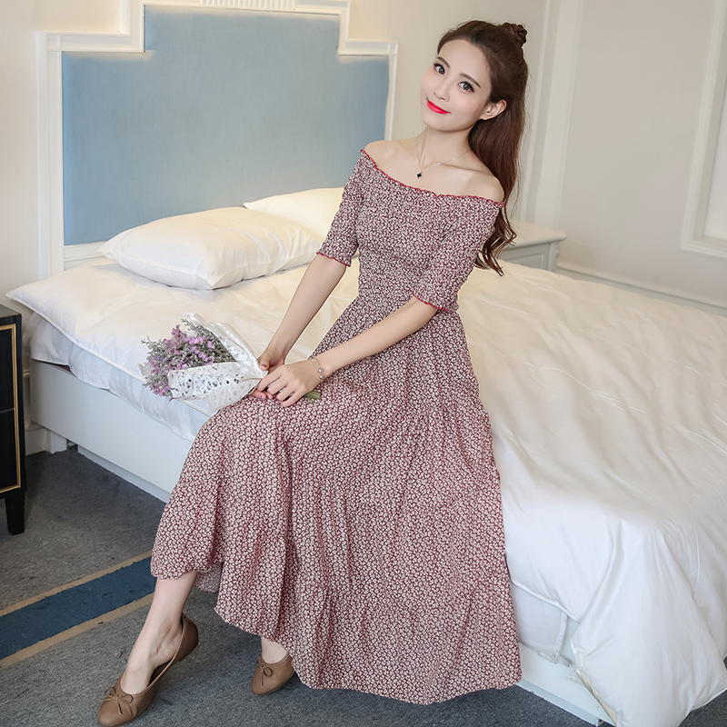 2018 New Women dress Print Word Shoulder Windy Place A Holiday Dresses Red Flower 6331