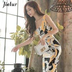 Jielur moda drukowane bez rękawów Midi urocze seksowne kobiety sukienki OL Slim pakiet Hip Sukienka lato plac dekolt w stylu Vintage Sukienka 6
