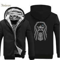 Odin Vikings Vintage Hoodies Sweatshirts Men 2018 Hot Sale Spring Winter Warm Fleece Mens Thick Zipper Hoody Men's Jacket Coat
