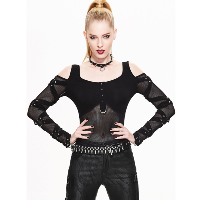 Gothic Steampunk Women's Fashion Mesh Stitching T shirt 2017 Sexy Transparent Long Sleeve T shirts Female Slim Fit Tops Tees