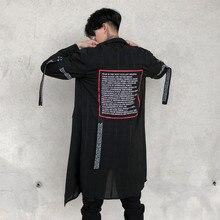 Western Stylish Ribbon Printed Tide Mens Long-Sleeve Shirts Hip Hop Autumn Male Thin Plaid Stage Youth Punk Shirt Streetwear