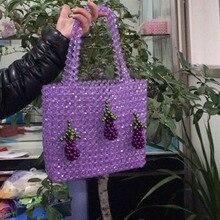 Handmade Beaded Handbag For Women Eggplant Hanging Female Pearl Bags Fashion Weaving Tote Large Capacity Ladies Shopping Bag цена 2017