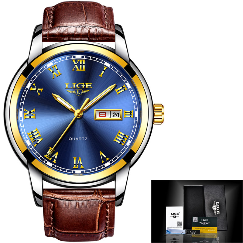 gold blue leather