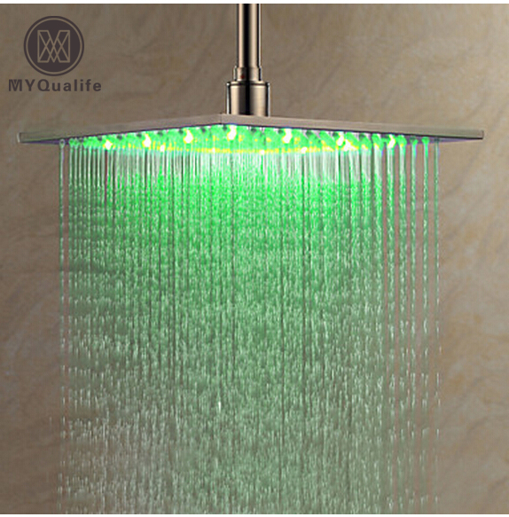 Nickel Brushed 10 Rainfall LED Shower Head 25cm Square LED Color Changing Stainless Steel Showerhead kemaidi led three color changing rainfall