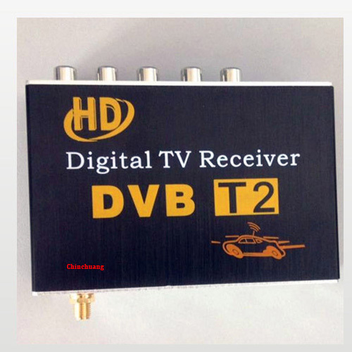 Car DVB-T2 H.264 MPEG4 Mobile External Digital TV Receiver  Box  with TV Antenna Russian OSD, support PVR function and USB