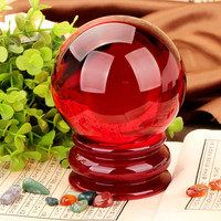 XINTOU Red Crystal Ball K9 Artificial Crystals Glass Healing Globe Chinese Style Home Feng Shui Decoration Sphere 100mm Big Ball