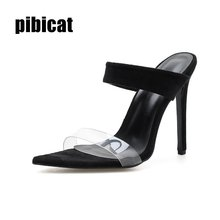 slipper Woman Pumps Shoes Ladies Sandals pointed toe slip on sneakers Sexy Fashion High Heels Summer Transparent Thin Heels shoe