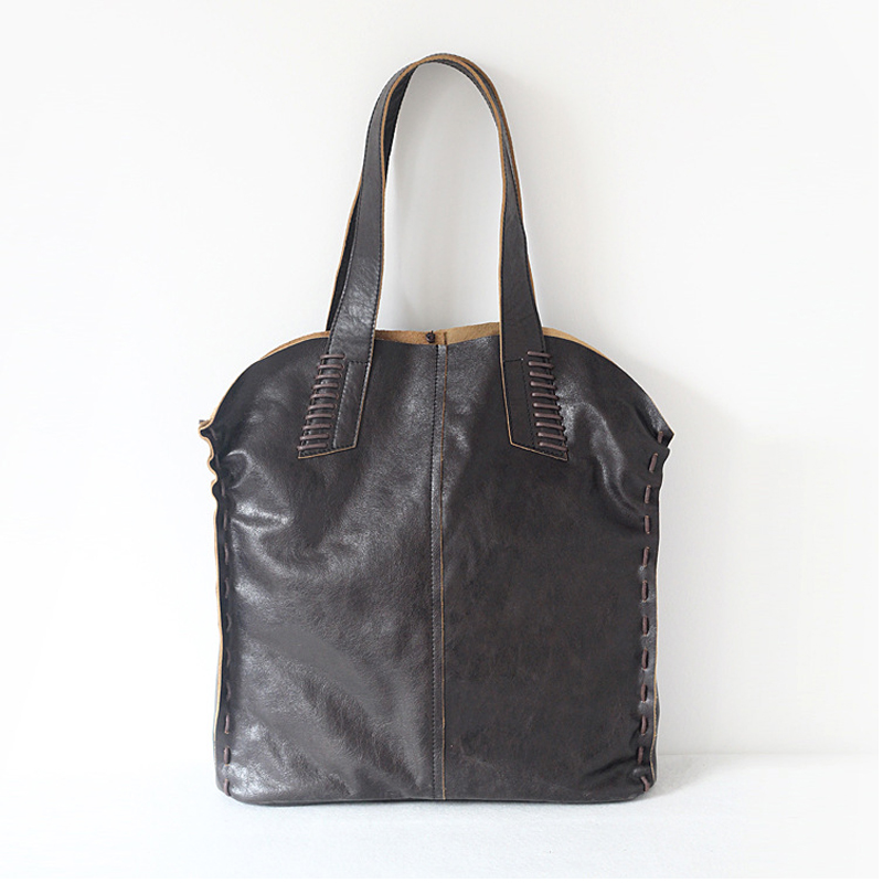 Vintage Simple Nature sac à main en cuir de vache pour les femmes sacs composites en cuir véritable sac à bandoulière grande taille à la main tricot - 2