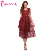 ANGVNS Women's Floral Lace Party Dresses Elegant V-Neck Sleeveless Fit and Flare Slim Evening Formal Female Plus Size Midi Dress