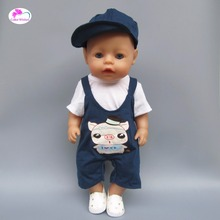 clothes for doll fits 43 cm Baby Born zapf baby and American girl Casual clothes dress crawling clothes for Children's birthday