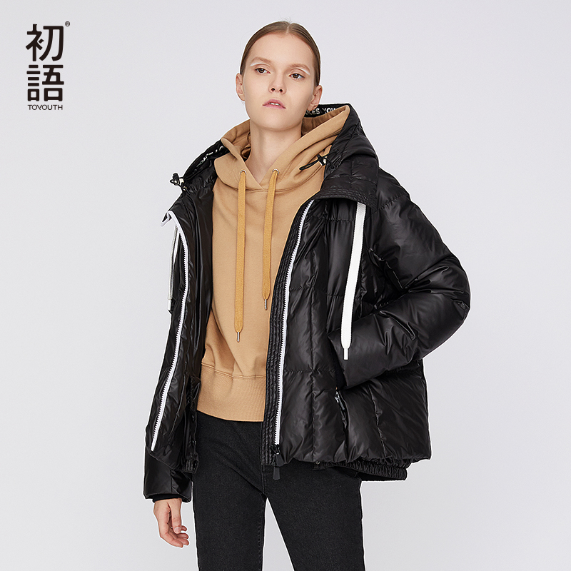 Toyouth Duck   Down   Winter Female   Coat   Women Puffer   Coats   Short Casual Loose Tops Thickening Warm Wadded Hooded Outerwear   Coats
