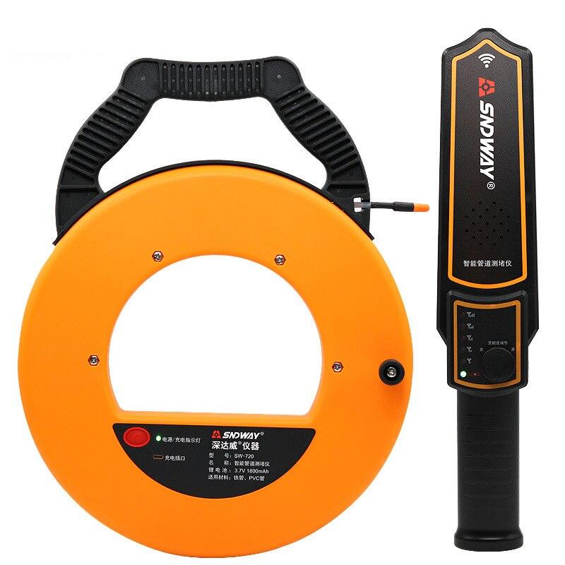 SNDWAY 20-40 m Scanner Medidor de Espessura Da Tubulação Pipeline Bloqueio Bloqueio Localizador de Entupimento Encanadores Largura Instrumento Medida