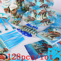 Disney Cartoon Moana Maui Disposable Tableware Sets Kids Birthday Decoration Children's Day Wedding Event Supplies 128Pcs/Lot