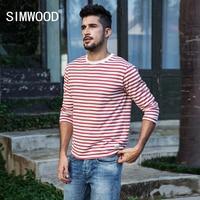SIMWOOD Brand Men Long Sleeve T Shirts 2018 New Fashion Slim Fit 100 Pure Cotton Striped