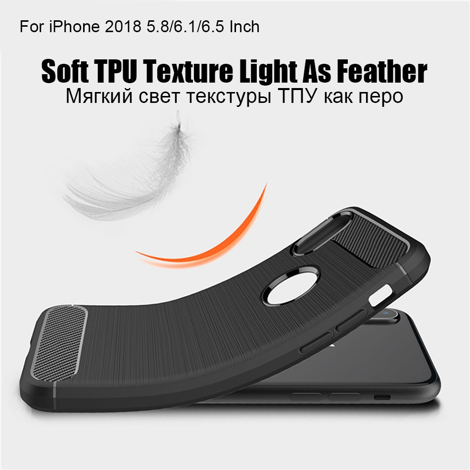 TOMKAS Phone Case Carbon Fiber Cover For iPhone XS Plus X 2018 5.8 6.1 6.5 Inch Soft TPU Silicon Case Protective Back Cover 2018 (7)