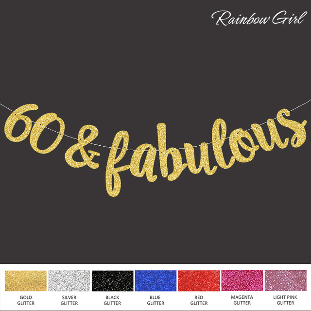 Glitter 60Fabulous BannerGold Black Silver 60th Happpy Birthday Decorations Wedding Anniversary