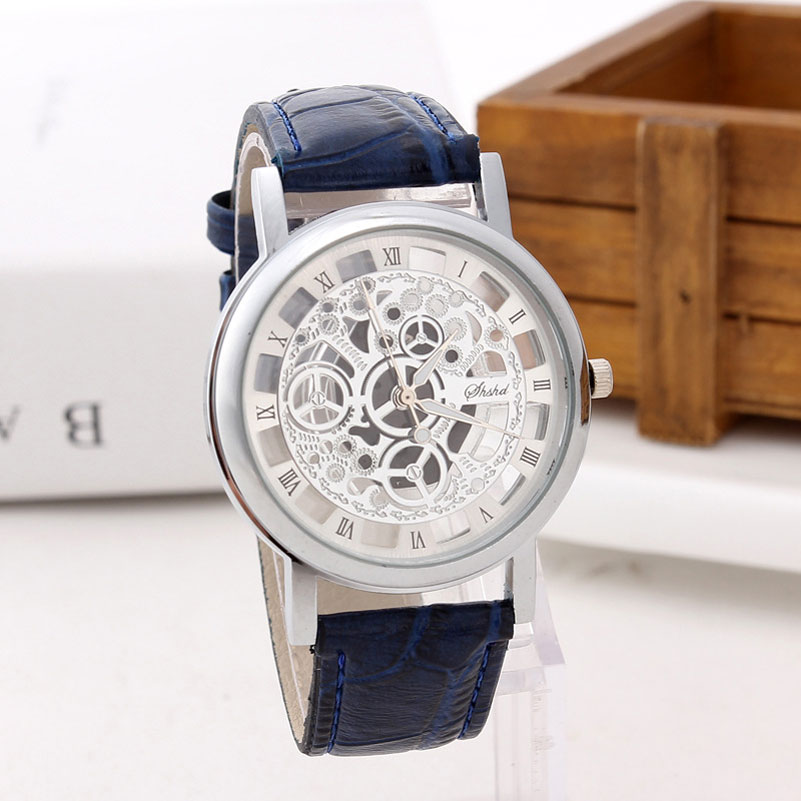 New Brand Men Watches Imitation Skeleton Watch Faux Leather Analog Quartz Watch Fashion Causal Mens Clock