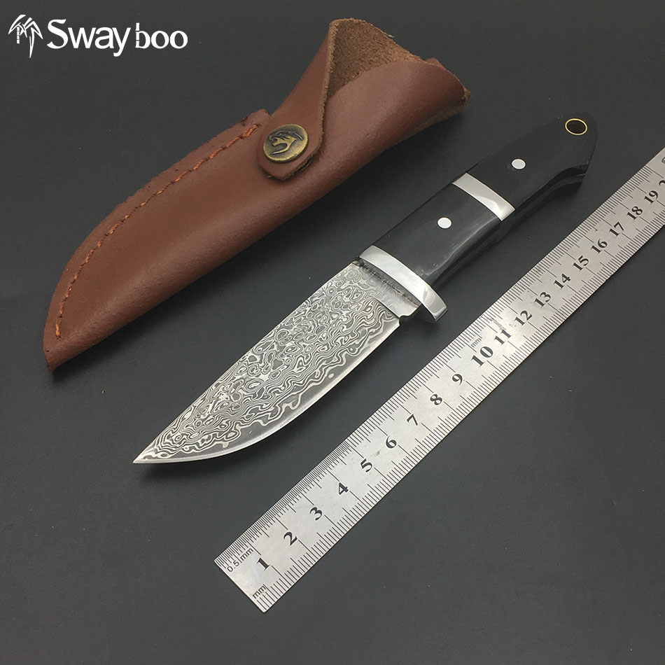 все цены на  Swayboo damascus camping  knives outdoor survival damascus steel hunting knives ox horn handle amry knife damascus steel  онлайн