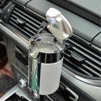 DE SOUL Special Carbon Fiber Car Ashtray Plum Blossom Pattern Car Cigarette Ashtray With Hooks Lids