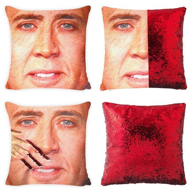Mermaid Pillow Case Nicolas Cage Magic Pillowslip Reversible Sequin Pillow Cover Decorative Throw Cushion Case  Hidden Fun