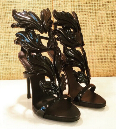 Big Size 10 Hottest High Quality Black Gold Flame High Heel Sandals Cut-out Designer Summer Dress Shoe Size 34-41 Drop Ship