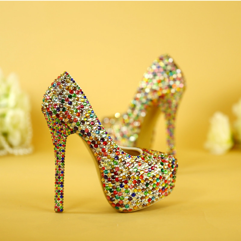 ФОТО Crystal color high heels female Waterproof table rhinestones party party evening dress adult shoes Wedding shoes