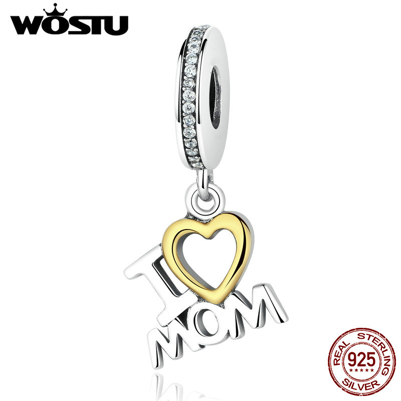 High Quality 925 Sterling Silver I LOVE MOM Dangle Charm Fit Original WST Bracelet Authentic Jewelry Mother MUM GiftHigh Quality 925 Sterling Silver I LOVE MOM Dangle Charm Fit Original WST Bracelet Authentic Jewelry Mother MUM Gift