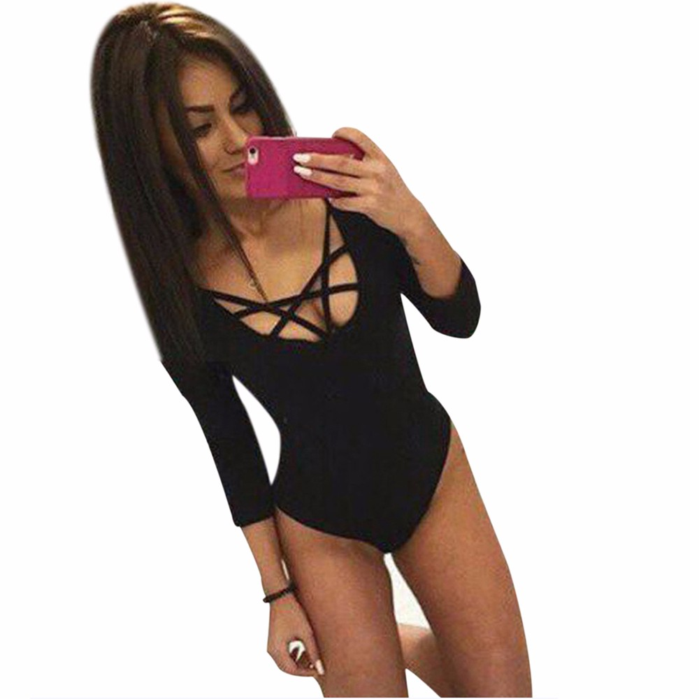 105026a7c6a MUQGEW Sexy Women Skinny Lacing Piece Rompers womens jumpsuit Bodysuit Jump  Suit Calcetines mujer cheap