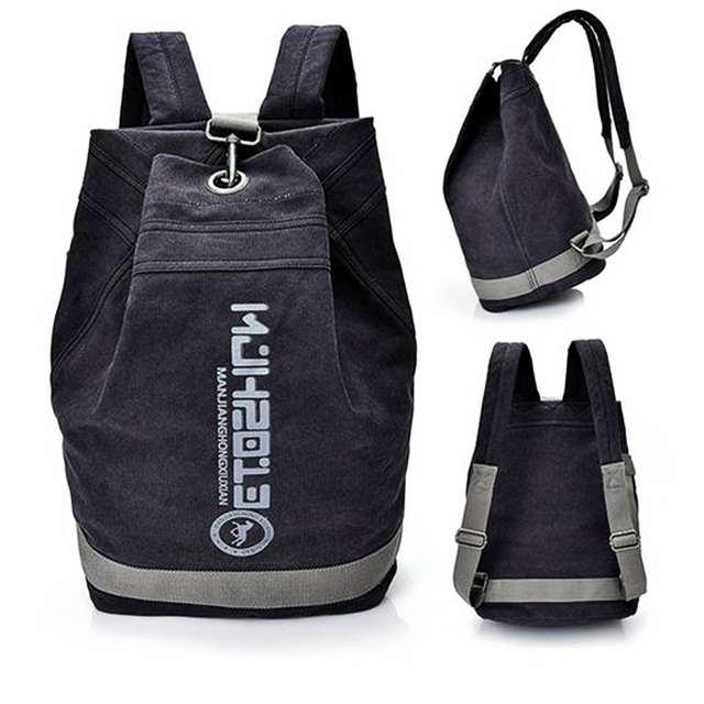 0397eed44705 Canvas bucket gym bag unisex training sports backpack basketball football  bag large capacity travel storage handbag school bags