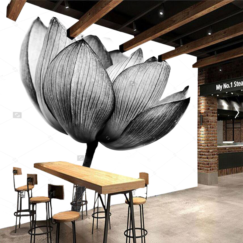 Black flower wallpaper,Lotus in black and white,natural photo mural for living room bedroom sofa background wall vinyl paper chinese landscape wallpaper mountains waterfall fog house retro mural for living room bedroom sofa background wall vinyl paper