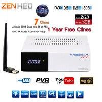 DVB T2 DVB S2 GTC рецепторов спутниковый декодер + USB WI FI HD 1080 P bisskey Powervu 4 К спутниковый ресивер ТВ коробка