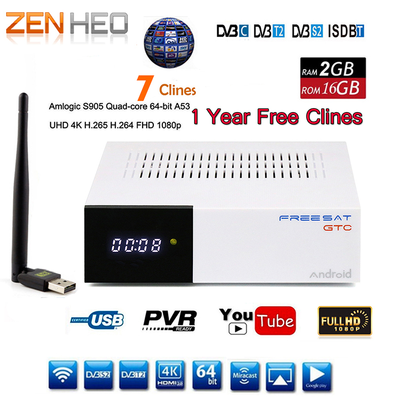 DVB-T2 DVB S2 GTC Receptor Satellite Decoder +USB WIFI HD 1080p BISSkey Powervu 4K Satellite Receiver TV Box freesat v7 hd powervu satellite tv receiver dvb s2 with 3months free africa cccam account stable on starsat 5e