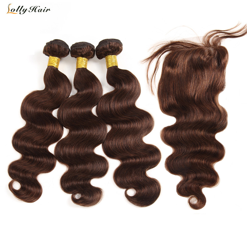 Dark Brown Brazilian Body Wave Bundles with Closure Free Part 100 Human Hair Bundles with Closure
