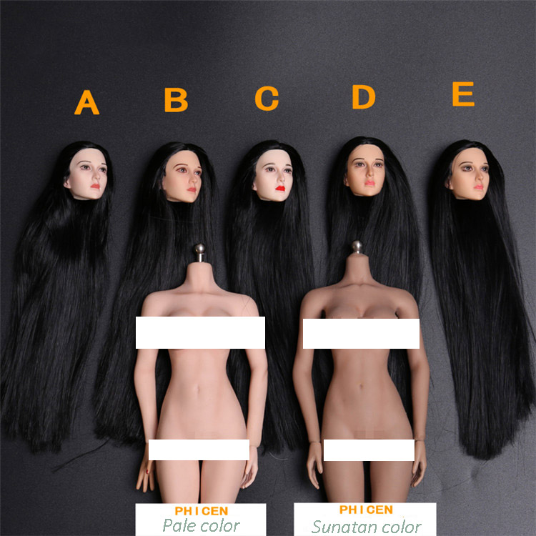5 Styles 1/6 Female Head Sculpt Asian Beauty Headplay With Black Long Hair in Pale/White/Tan  for PH Jiaodoll Action Figure top habbies super duck carving 1 6 sdh001 a b asian girl head sculpt black brown hair for female phichen jiaodoll body figure
