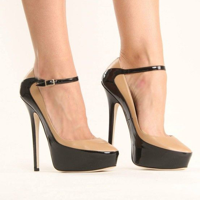 Party Schwarz Damen Sexy Patchwork Strap Plattform Spitz As Pumps Patent Leder Heels Kleid Pic Schuhe One Stiletto High Frauen YqwRwEp