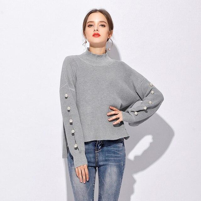 acheter femmes tricots 2017 automne hiver chandails pull femme confortable col. Black Bedroom Furniture Sets. Home Design Ideas