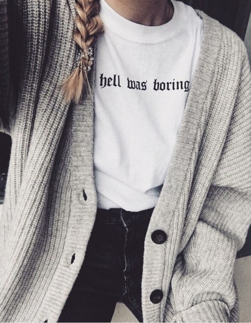 26136d8bee4a Hell Was Boring Women Tumblr Grunge Street Style T-Shirt Hipsters Summer  Cute women fashion funny slogan Satan kawaii goth shirt
